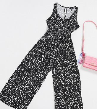 New Look Tall drawstring waist jumpsuit in black pattern