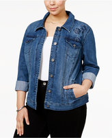 Style&Co. Style & Co Plus Size Embroidered Denim Jacket, Only at Macy's