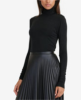 Lauren Ralph Lauren Button-Trimmed Jersey Mock Neck