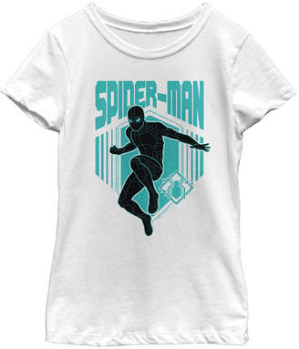 Fifth Sun Marvel Big Girls Spider-Man Far From Home Stealth Suit Silhouette Logo Short Sleeve T-Shirt