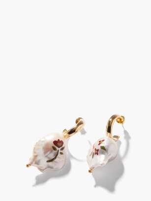 Simone Rocha Floral-painted Pearl And Gold-plated Earrings - Pearl