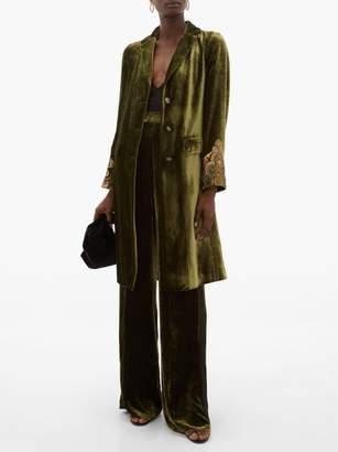 Etro Bristol Embroidered Cuff Velvet Coat - Womens - Green