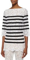 Michael Kors 3/4-Sleeve Striped Floral-Lace Blouse