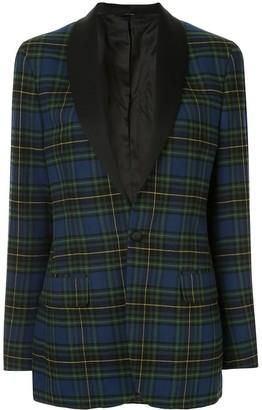 R 13 plaid fitted blazer
