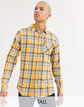 Soul Star Tall fitted check shirt with pocket-Yellow