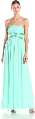 JS Boutique Women's Pleated Strapless Gown with Ombre Beads
