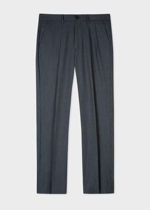 Paul Smith Men's Navy Mini Check Wool Trousers