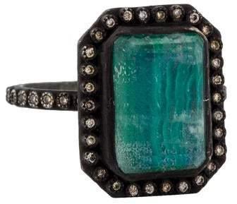 Armenta Diamond-Accented Malachite & Quartz Doublet Old World Ring
