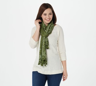 Isaac Mizrahi Live! Ditsy Floral Scarf with Tassels