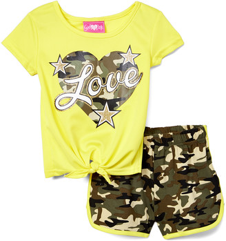 Girls Luv Pink Girls' Casual Shorts gold - Gold Camo 'Love' Knot-Front Tee & Green Camo Shorts - Toddler & Girls