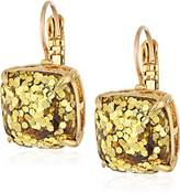 Kate Spade Small Square Leverback Gold-Tone Glitter Drop Earrings