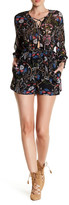 Lucca Couture 3/4 Sleeve Lace-Up Waist Tie Floral Romper