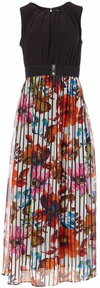 Gabby Skye Women's Petite Sleeveless Floral Print 2fer Chiffon and ITY Belted Maxi Dress