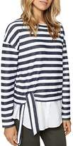 Sanctuary Ally Poplin-Hem Stripe Sweatshirt