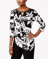 Alfred Dunner Saratoga Springs Patchwork-Print Top