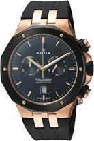 Edox Men's 'Delfin' Quartz Stainless Steel and Rubber Dress Watch, Color:Black (Model: 10110 357RNCA NIR)