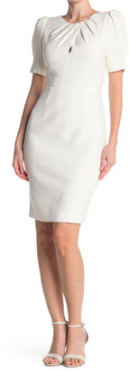 Elie Tahari Delphine Gathered Keyhole Neck Sheath Dress