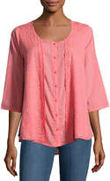 Johnny Was 3/4-Sleeve Embroidered Top, Pink