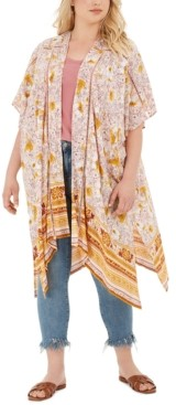 Band of Gypsies Trendy Plus Size Printed Kimono Jacket