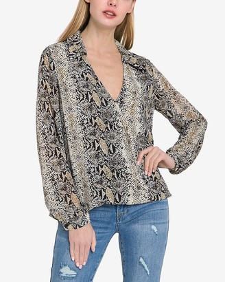 Express Endless Rose Snakeskin Print Wrap Top