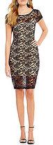 B. Darlin Cap Sleeve Two-Tone Lace Sheath Dress