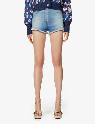 Gucci Cherry-embroidered high-rise stretch-denim shorts