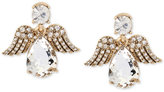Betsey Johnson Gold-Tone Patina Crystal Angel Drop Earrings