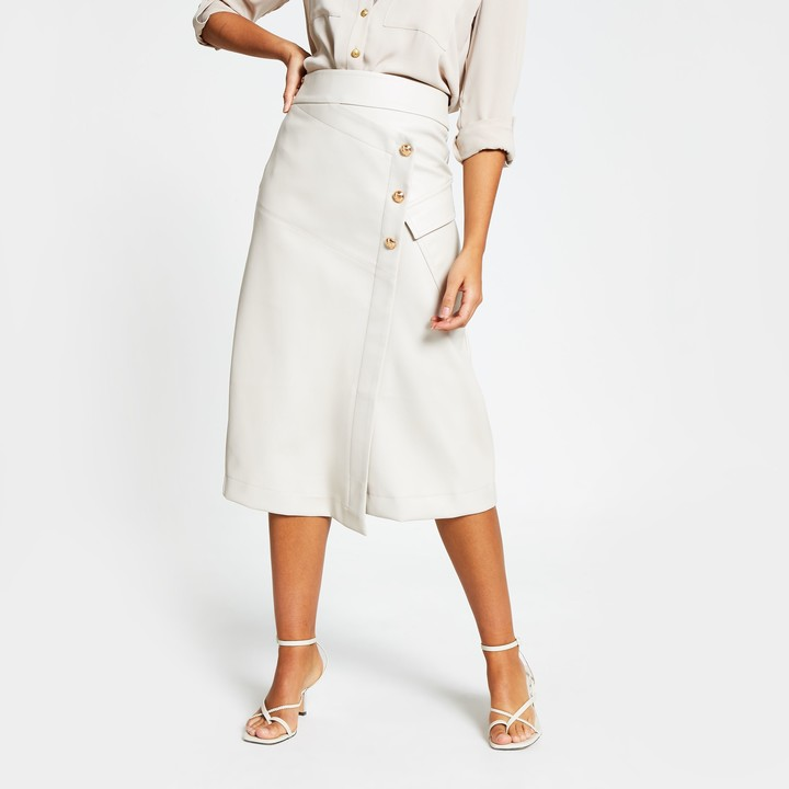 River Island Womens Beige faux leather wrap midi skirt