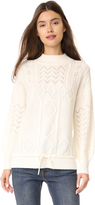 TSE x Claudia Schiffer Cable Knit Long Sleeve Pullover