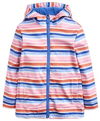 Joules Girls' Rain Coats PNKRNBSTP - Pink Rainbow Stripe Raindance Raincoat - Toddler