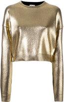 Saint Laurent coated metallic cropped jumper - women - Spandex/Elastane/Viscose - S