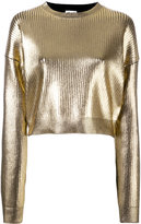 Saint Laurent coated metallic cropped jumper - women - Spandex/Elastane/Viscose - XS