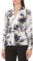 Reiss Maria Twist-Front Floral-Print Top