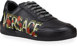 Versace Men's Floral Logo Low-Top Sneakers