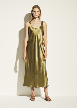 Vince Square Neck Satin Tank Dress