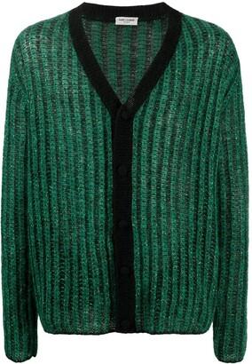 Saint Laurent Metallic Ribbed-Knit Cardigan