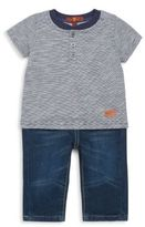 7 For All Mankind Baby's Two-Piece Striped Henley & The Standard Jeans Set