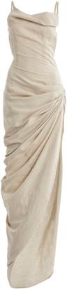 Jacquemus Saudade Gathered Cotton-Blend Maxi Dress