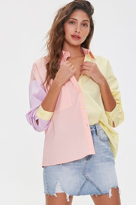 Forever 21 Colorblock Button-Up Shirt