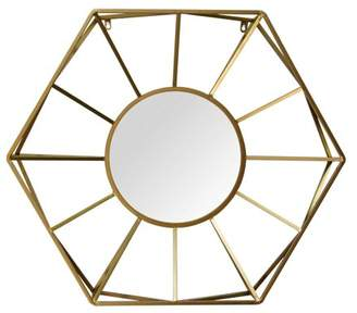 "Stratton Home Décor Stratton Home Decor 32.50"" Hallie Metal Gold Mirror"