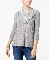 Style&Co. Style & Co Petite Lace-Trim Cowl-Neck Top, Created for Macy's