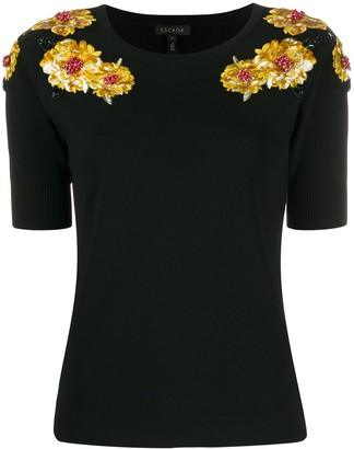Escada Floral Embellished Shortsleeved Knitted Top