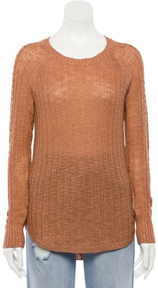 Juniors' Pink Republic Long Sleeve Crew Neck Braided Sleeve Sweater
