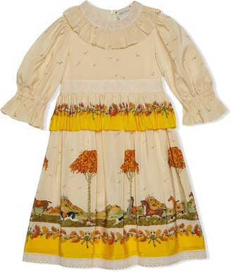 Gucci Kids Printed Ruffled Dress