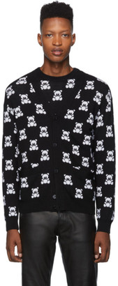 Moschino Black Jacquard Teddy Bear Cardigan