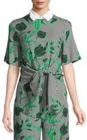 Lela Rose Linear Floral-Printed Tie-Front Top with Detachable Collar