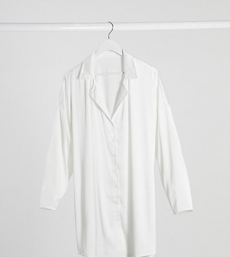 Asos DESIGN Maternity satin oversized sleep shirt in white