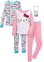 Komar Hello Kitty 2-Piece Cotton Pajama Set & Door Sign Gift - Set of 2 (Little Girls & Big Girls)