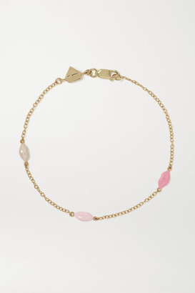 Alison Lou Mini Lip By The Yard 14-karat Gold And Enamel Bracelet - one size
