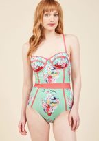 High Dive by ModCloth Need I Say Shore? One-Piece Swimsuit in Bouquets in M